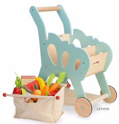 Wooden toy shopping trolley by Le Toy Van. #KidsFashionStore