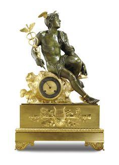 A gilt-bronze and patinated-bronze mantel clock, attributed to Lenoir-Ravrio Restauration, circa 1825