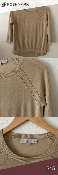 LOFT Three Quarter Length Sleeve Sweater Top Super light and airy! NWOT! 55% linen and 45% cotton. Not fitted, but more of a looser fit. LOFT Sweaters Crew & Scoop Necks