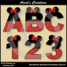 Red Minnie Alphabet Letters & Numbers Clip Art Graphics by AisnesCreations on Etsy https://www.etsy.com/listing/157997847/red-minnie-alphabet-letters-numbers-clip