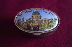 Vintage Pill Snuff Box Gold Toned Ornate Porcelain Lid Miniature Trinket Box