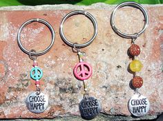 Choose Happy Peace and Love keychain