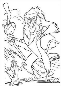 kleurplaat Lion King of de Leeuwenkoning - Rafiki praat met Timon