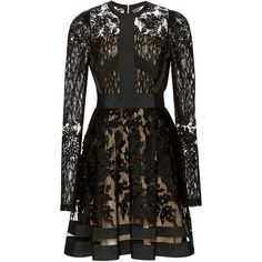 Elie Saab Lace Juliet Sleeve Dress (46.675 VEF) ❤ liked on Polyvore featuring dresses, lace-sleeve dress, round neck dress, lacy black dress, sheath dress and black sheath dress