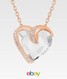 9b188c0f1 Crystaluxe Heart Necklace With Swarovski Crystals in 18k Rose Gold-plated  Sterling Silver for sale online | eBay