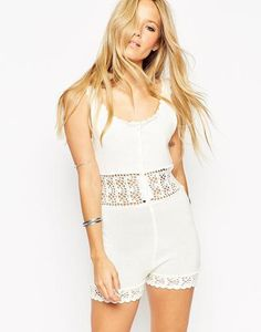 ASOS Crochet Playsuit white at asos.com #allinone #covetme