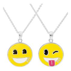 Emoji Grin & Tongue Emoji Pendant Necklace Set ($18) ❤ liked on Polyvore featuring jewelry, necklaces, brass pendant necklace, pendant necklace, brass pendant, chain pendants and chain pendant necklace