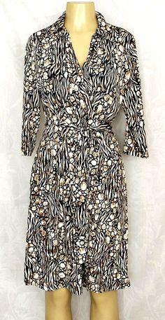 EUC GEORGE Brown Black White Faux Wrap Dress 12 14 Large V Neck Animal Swirl  #George #WrapDress #Any