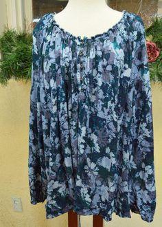 North Crest Boho Floral Peasant Top Shirt 224/26W Party Comfy Cute Jeans Plus #NorthCrest #PeasantShirt #Casual