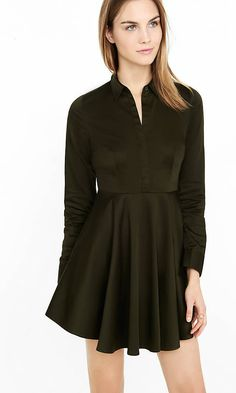 Olive Green Fit And Flare Shirt Dress | Express