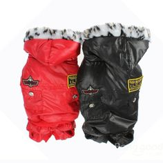 USA Polyester Two Pocket Warm Hooded Pet Dog Jumpsuit Coat