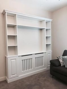 ie - Energy Saving Radiator Covers unit design Curved TV Units Bungalow Interiors, Built In Shelves Living Room, Radiators Living Room, Modern Sofa Living Room, Open Plan Kitchen Living Room, House Rooms, Open Plan Living Room, Living Room Style, Cupboard Design