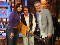 Fátima Bernardes e Odair José e Pedro Bial  no programa encontro