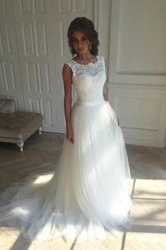 Charming white tulle lace round neck wedding dresses #BridalDresses #WeddingGowns #Wedding #WeddingDresses