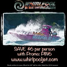 Don't miss out on the Whirlpool Jet experience! Use promo code PIN6 and book at www.whirlpooljet.com or 1.888.438.4444