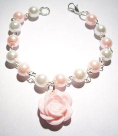 Cute Beaded Bracelet with a Pale Pink Rose Charm and Acrylic Pearl Beads £7.00  - Pastel Goth - Kawaii - Pretty - DIY Jewelry - Jewellery - Handmade - OOAK - Folksy
