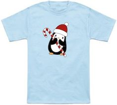 Penguin Holding A Candy Cane Christmas T-Shirt.