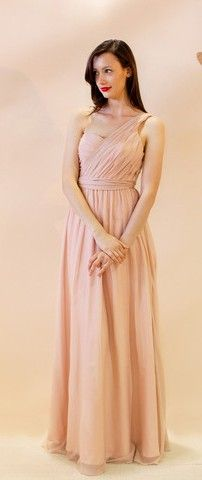 #Ivy #Josephine blush chiffon one shoulder flowing evening gown.  $210 at #LeDressBoutique