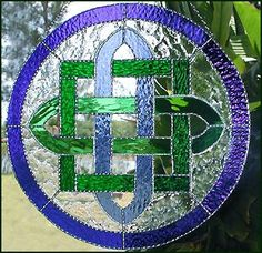 """Stained Glass Suncatcher - Blue & Green Celtic Knot Design - 14""""  - Handcrafted Sun Catcher - 9597-BL-GR by StainedGlassDelight on Etsy https://www.etsy.com/listing/100479598/stained-glass-suncatcher-blue-green"""
