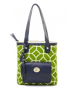 This Green & White Martinangel Tassel Tote by Spartina 449 is perfect! #zulilyfinds