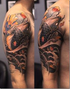 Koi is a Japanese word for Carp. Koi fish tattoos look great on both women and men. The fish are associated with a lot of meanings and symbolism that many people find to be relatable. Here are the 22 best koi fish tattoo designs for men & women. Pez Koi Tattoo, Koi Tattoo Sleeve, Half Sleeve Tattoos For Guys, Fish Tattoos, Japanese Koi Fish Tattoo, Japanese Tattoo Designs, Tattoo Designs Men, Koi Tattoo Design, Back Tattoo Women