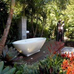 Backyard bathtub. Outdoor showers. Balinese garden bathrooms.