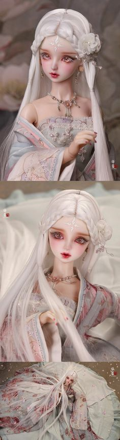 BJD 1/3 ancient female wig(white)/Hua Rong WG316041B for SD Size Ball-jointed Doll_SD 8-9in_SD 8-9in_WIG_Ball Jointed Dolls (BJD) company-Legenddoll