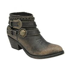 7a8d24c4f4b Amazon.com  Corral Women s Distressed Black Buckle Strap Ankle Boots  Shoes  Short Cowgirl