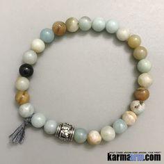 Yoga Bracelets. Men's & Women's Law of Attraction. Energy Healing. Beaded Mala. Tibetan Buddhist. #LOA. Amazonite Om Mani Padme Hum.