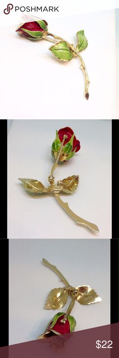 """GIOVANNI Signature Red Rose Pin🔱Gold Highlights Measures 2-3/4"""" X 1-1/2"""" signed GIOVANN.  In great vintage condition. Jewelry Brooches"""