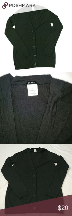 """J. Crew cardigan J. Crew v- neck button down cardigan in dark gray. Material: 100% merino wool.  - great condition   Measurements:  Pit to pit about 15"""" Length about 23"""" Sleeve about 23"""" J. Crew Sweaters Cardigans"""