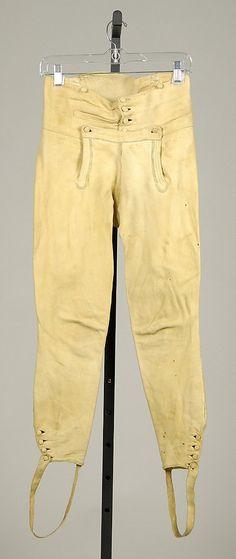 Trousers Date: 1800–1810 Culture: American Medium: Leather (Buckskin breeches)