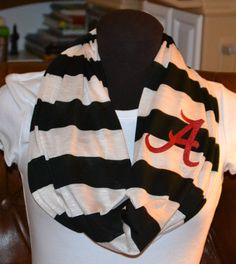 Alabama Game Day Infinity Scarf Black & Natural White by byrdlegs, $25.00