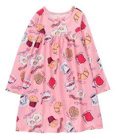 Look at this #zulilyfind! Pink Breakfast Food Nightgown - Girls #zulilyfinds