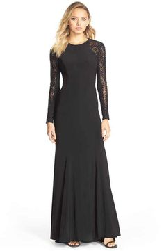 Xscape Sequin Lace Sleeve Gown