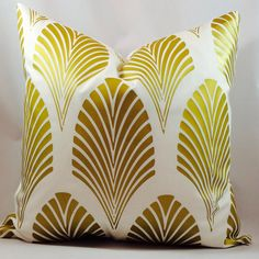 Old gold Art Deco- Classic 1920s geometric fan pattern on ivory or crisp white medium weight cotton blend canvas  **This listing is for the slipcover only**  This metallic gold has the old art deco smooth satin finish. - choose your slipcover size - choose between crisp white or ivory cotton blend canvas ***Cotton blend canvas is a medium weight fabric - Zippers are sewn in the bottom seam for easy access - gold design on the front with solid back - all interior seams are serged and stress…