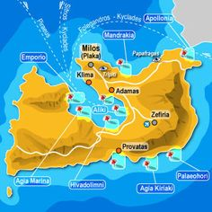 Map milos Nice Place, Islands, Greece, Europe, Map, Places, Travel, Viajes, Cards