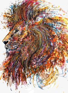 Creative pintura leão, Colorido, Creative, Ilustração Imagem PNG
