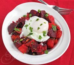 Roasted Beet and Sweet Potato Hash with Poached Egg <-- Love beets!