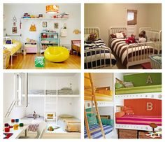 Gorgeous shared bedrooms! If you're looking for a way to arrange your childrens bedroom - when you have two or more sharing - these images will give you some great ideas! #storage #organising #clutter #children #kids