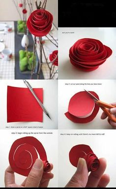 diy paper flowers by wendy Valentines Day Decorations, Valentine Day Crafts, Holiday Crafts, Diy Arts And Crafts, Crafts For Kids, Paper Crafts, Paper Flowers Diy, Flower Crafts, Beauty And The Beast Party