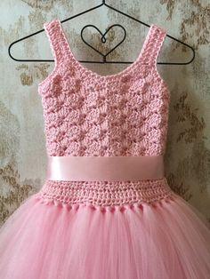 Diy Crafts - Pink flower girl tutu dress birthday tutu dress crochet by Crochet Tutu Dress, Diy Dress, Crochet Clothes, Baby Tutu Dresses, Little Girl Dresses, Girls Dresses, Crochet Girls, Birthday Dresses, Birthday Tutu