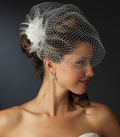Feather Flower Fascinator with Birdcage Wedding Veil - affordableelegancebridal.com