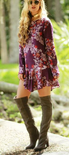 Fall Transition outfit styles with Free People boho floral dress, grey over the knee boots, and round sunglasses