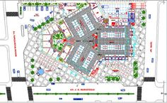 Ground floor layout plan details with landscaping of shopping mall dwg file