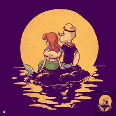 """""""The Mermaid and The Sailor"""" Design by alexmdc Threadless Parody Challenge"""