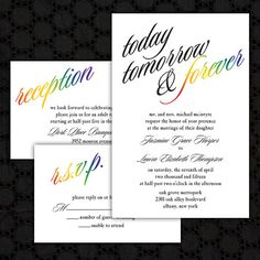 Custom Today Tomorrow & Forever Rainbow by InviGAYtions on Etsy Wedding Prep, Wedding Sets, Wedding Cards, Our Wedding, Wedding Stuff, Wedding Invitation Suite, Floral Wedding Invitations, Wedding Stationery, Rainbow Bridesmaid Dresses