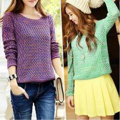Retro hollow knit sweater AZ910D