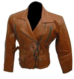Vintage Women's Brown Belted Leather Outfit     Jacket Features:Outfit type: Genuine Leather JacketGender: FemaleColor: BrownFront: Front Zip ClosureCollar: Shirt Style CollarLining: Viscose LiningCuffs: Zip CuffsPockets: Four pockets on Front & Two inside pockets