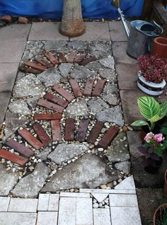 Urbanite and Brick mosaic in greenhouse floor, copied from LA Times feature.